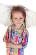 The little girl with an umbrella. Isolated on a white background