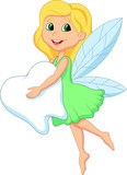 Fototapety Illustration of a cute Tooth Fairy flying with Tooth