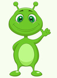 Cute green alien cartoon