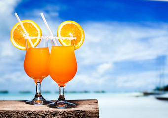 Two bocals of Tequila Sunrise cocktail