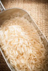Close up of grains of basmati rice