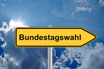 Wegweiser Bundestagswahl vor Himmel