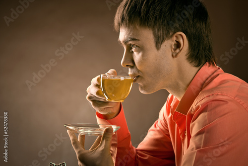 man with tea