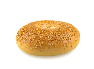 Sesame Seed Bagel Isolated on White Background
