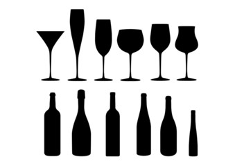 wine cocktail champagne icon set