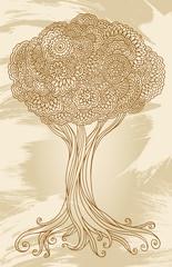 Doodle Henna Sketch Groovy Tree Vector Illustration