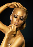 Glint. Coloring. Woman with Golden Faceart. Creative Concept