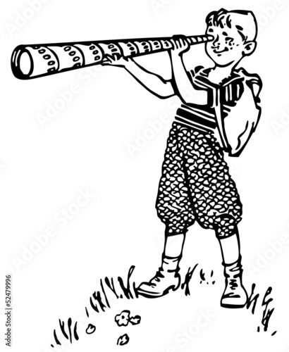 Boy looking through a spyglass
