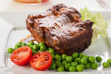 Pork spareribs on plate