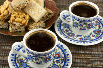 Traditional  Easter sweets  with nuts and turkish coffee