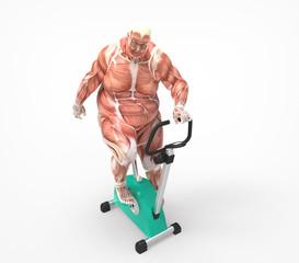 Obeso haciendo deporte