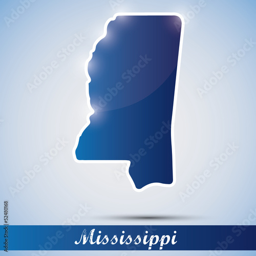 shiny icon in form of Mississippi state, USA
