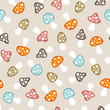 Seamless Pattern Mushrooms Retro