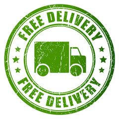 Vector free delivery green stamp