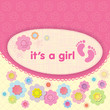 Greeting card with the birth of a girl. Applique flowers.