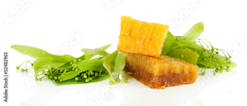 Honeycomb with flowers of lime, isolated on white