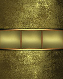 Grunge gold background with elegant gold stripe for text.