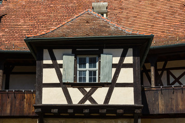 Architectural details of an old house in Bamberg, Germany.