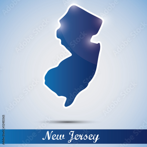 shiny icon in form of New Jersey state, USA