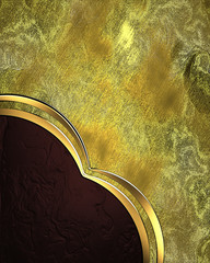 Gold grunge background with red corner. Design element.