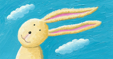 Cute rabbit in the wind