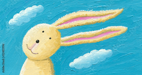 Cute rabbit in the wind
