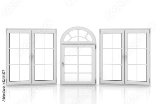 3d illustration of closed plastic windows on white