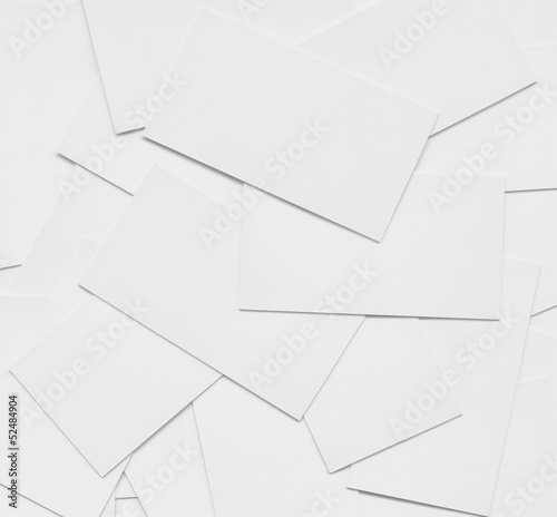 Multiple blank business cards background, detailed white empty