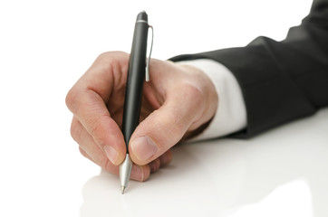 Hand writing on copy space