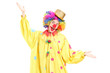 Funny circus clown gesturing with hands
