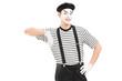 Male mime artist posing