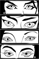 Comic style eyes drawing