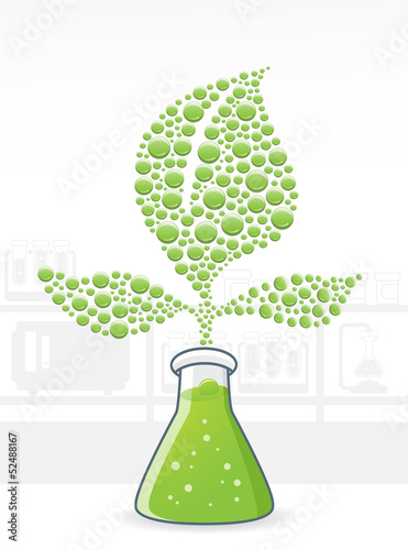 illustration of a Chemical reaction from plants and herbs
