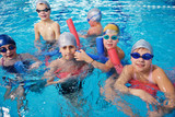 Fototapety happy children group  at swimming pool