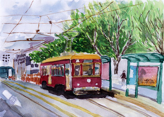 streetcar watercolor sketch