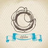 Lifeline. Hand drawn illustration poster