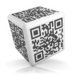 White qr code cube isolated on white