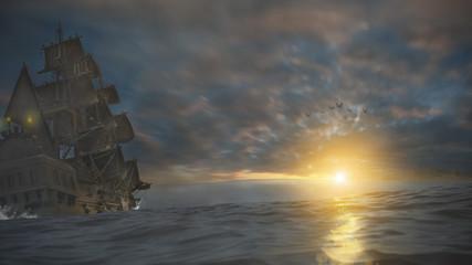 Piratenschiff auf See 3D 4K
