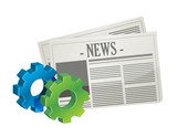 industrial gear newspaper concept illustration