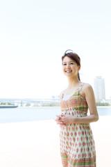 Beautiful asian woman on beach summer holiday