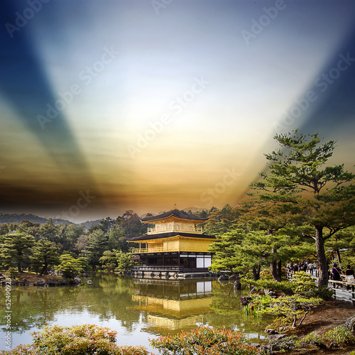 gold temple japan with nice sky