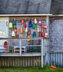 Lobster buoys hanging on the wall