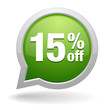15 percent off green speech bubble