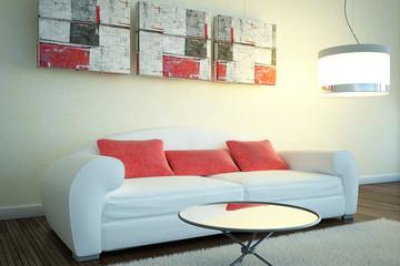 cuscini rossi divano