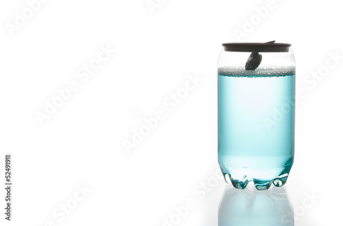 Blue water in Plastic Can