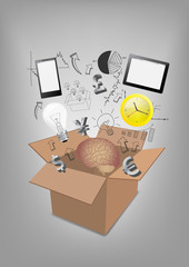 Open box communication technology business concept idea vector