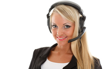 Happy business woman with headset.