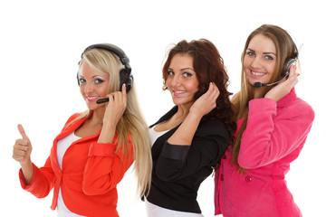 Happy business women with headset..