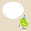 Green Bird Birthday Gift Speech Bubble Beige Dots