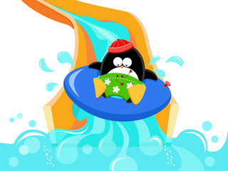Penguin Enjoying Water Slide